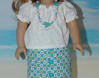 American, made, girl, doll, clothes, fit, 18 inch doll, peasant blouse, shirt, skirt