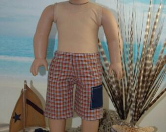 SALE, Swim trunks, bathing suit, board shorts, doll clothes, 18 inch doll, boy doll