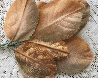Vintage East Germany Ombre Golden Satin Fabric Millinery Leaves 1950s VL E-5
