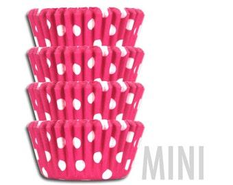 Mini Bright Pink Polka Dot Baking Cups - 50 mini paper cupcake liners