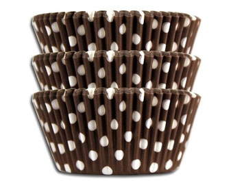 Brown Polka Dot Baking Cups - 50 paper cupcake liners