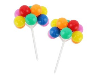 Rainbow Balloon Picks - a bright rainbow of balloon cupcake and cake toppers