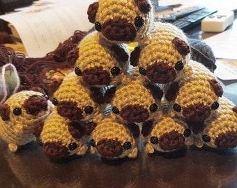 Crocheted Pug Amigurumi Plushie - Mini Fawn Pug Puppy Dog Plush - Ready to Ship