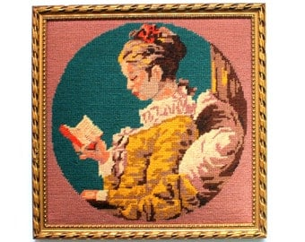 "Framed Needlepoint of Fragonard's ""A Young Girl Reading"""