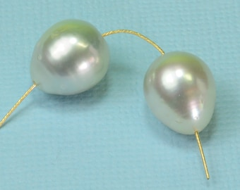 10.6MMx12.1MM White South Sea Cultured Baroque Pearl Bead PAIR