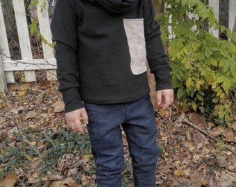 ORGANIC UNISEX Hemp Denim Kid's Pants, leggings, made to order, made to grow with your kid, sizes 1-2T and 3-4T and 5-6T