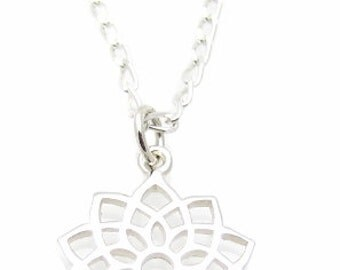 """7th Crown Chakra Symbol Charm Sterling Silver Necklace, 18"""", Yoga Jewelry"""