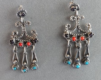 Vintage, Silver and Turquoise, Mexican, Earrings