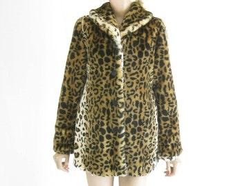 Vintage 90's Leopard Print Faux Fur Jacket.