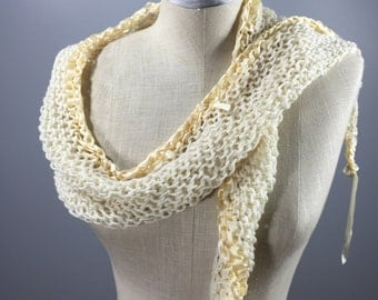 Wearable Fiber Art-Mindful Wrap-Cream Cashmere Mindfulness Mantle with Silk Ribbons and Freshwater Pearls