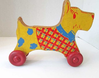Vintage Wooden Scottie Dog Pull Toy,  1940's Vintage, Toy, Original Paint, Primary Colors, Yellow, Red Blue Scottie Dog,  Nursery Decor