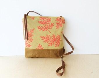 weekdayer - large • crossbody bag - floral print • hot pink fern - botanical print - screenprint - neutral - brown waxed canvas • native