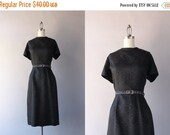 STOREWIDE SALE 1960s Dress / Vintage 60s Black Satin Brocade Dress / 1960s Cocktail Dress