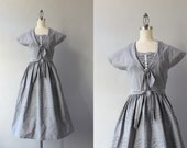 1940s Dress / Vintage 40s Chambray Day Dress / Buttons and Bows 40s 50s Cotton Dress