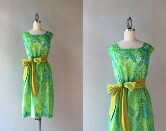 1960s Dress / Vintage 60s Gauzy Cotton Paisley Dress / Sheer Lined Sixties Sleeveless Bow Belt Dress