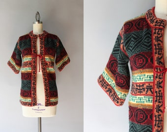 1970s Sweater / Vintage 70s Patterned Cardigan / Short Sleeve Bohemian Cardigan Sweater