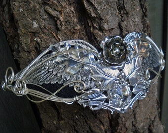 Gothic Steampunk Silver Wing Crown with Flower and Leaves