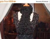 On Sale Handknitted Ruffles Scarf in Black