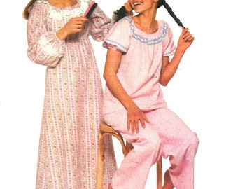 Children's Nightgown Pattern Child's Long Short Pajamas How To Sew Simplicity Vintage Sewing Girl's Size Large 12 - 14