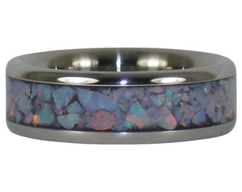 Red Autralian Opal Titanium Ring Made in Hawaii