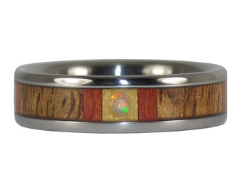 Opal Cabochon and Multiple Wood Titanium Ring