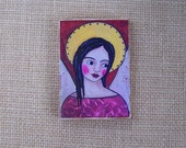 "Angel woodblock Print painting shabby folk art angel 3.5"" x 5"""