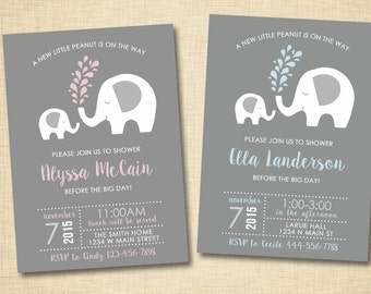 Elephant Baby Shower Invitation / Little Peanut Elephant and Momma Pink and blue / Baby Boy or Baby Girl / PRINTABLE INVITATION