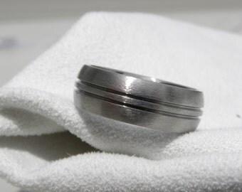 Titanium Ring, Wedding Band, Wedding Ring, Double Cut Grooves, Stone Finish
