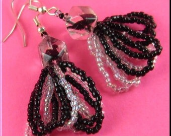 CLEARANCE SALE! Seed Bead Black and Clear Focal Glass Looped Dangle Earrings