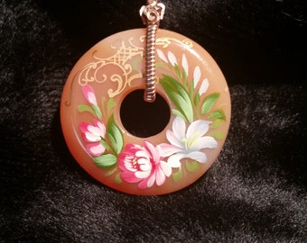 4264 Hand Painted Agate Donut Pendant