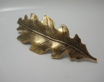 Barrette Hair Clip Large Oak Leaf Brass Metal Authentic French Hair Clip Organic Nature Woodland Hair Accessory Leaf Leaves