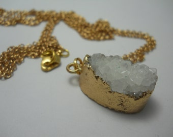 Small Druzy Pendant on Long Gold Plated Chain White Quartz Crystal Natural Stone Organic in Gold Bezel Setting Layering Jewelry