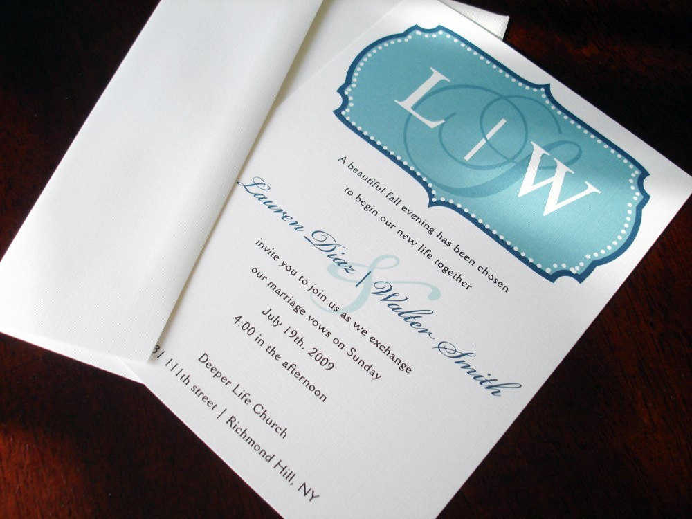 Elegant Monogram Wedding Invitations: Monogram Simple Wedding Invitation Casual Wedding