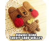 INSTANT DOWNLOAD - Kawaii funny bear with bowtie credit card cc wallet - PDF crochet pattern