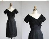 VALENTINES DAY SALE 1950s black evening dress / xs - s