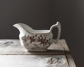 Antique Transferware, Henry Alcock & Co., Semi Porcelain Hawthorn Gravy Boat, Vintage Gravy Boat, Antique Table Ware
