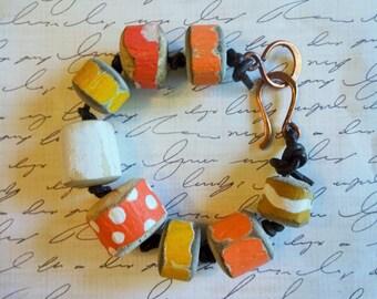 Yellow and Orange Beaded Driftwood Bracelet with Gaea Clasp