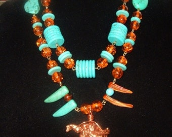 Amber Resin Turquoise Artisan Necklace, Statement,  Freeform Copper Pendant, Shell