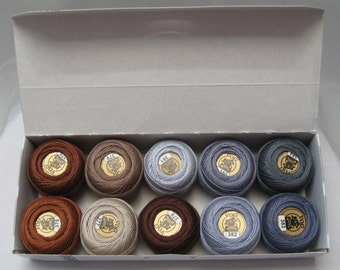 Vog© Perle Cotton Size 8 Embroidery Threads - Set of 10 Balls (10gr Each) - Brown and Gray Shades (column No. 8)