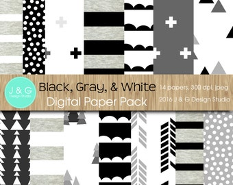 Black, Gray and White Digital Paper Pack Collection (3008)- Personal and Small Commercial Use,