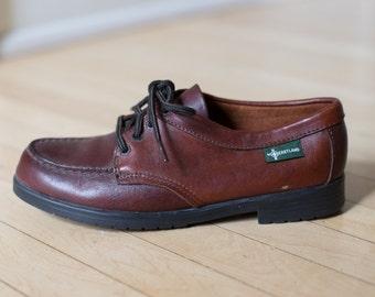 70s Eastland Burgundy Brown Leather Vintage Oxfords - Size 8