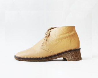 1990's Oxfords Chukka Beige Ankle Boots
