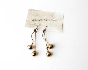1970's Gold Toned Cherry Drop Hook Earrings