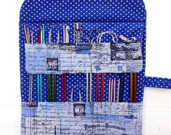 Blue Paris Themed Knitting Needle Case, Crochet Hook Organizer, Double Pointed Needle DPN Roll, Circular Needles, Artist or Makeup Brushes