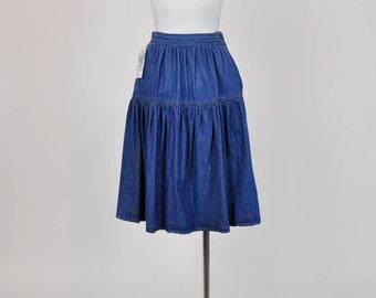 80s Skirt / Pierre Cardin Vintage 1980's Prairie Full Denim Skirt