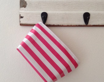 Beth's Medium Available in Multiple Colors  Stripes Oilcloth Cosmetic Bag