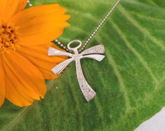 Rhinestone Dragonfly Sterling Silver Pendant