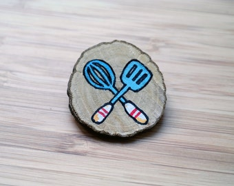 Chef pin with handmade kitchen tools illustration painted on wooden brooch