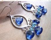 FLASH SALE, Tantalizing Tanzanite Blue Quartz Earrings, Sterling Silver Minimalist chandelier, Boho earrings, Gemstone earrings