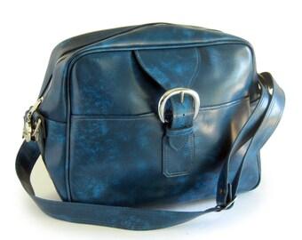 Mod Vintage Luggage - Carry On - Travel Bag - Gym Bag - Messenger Bag - Royal Blue with Shoulder Strap